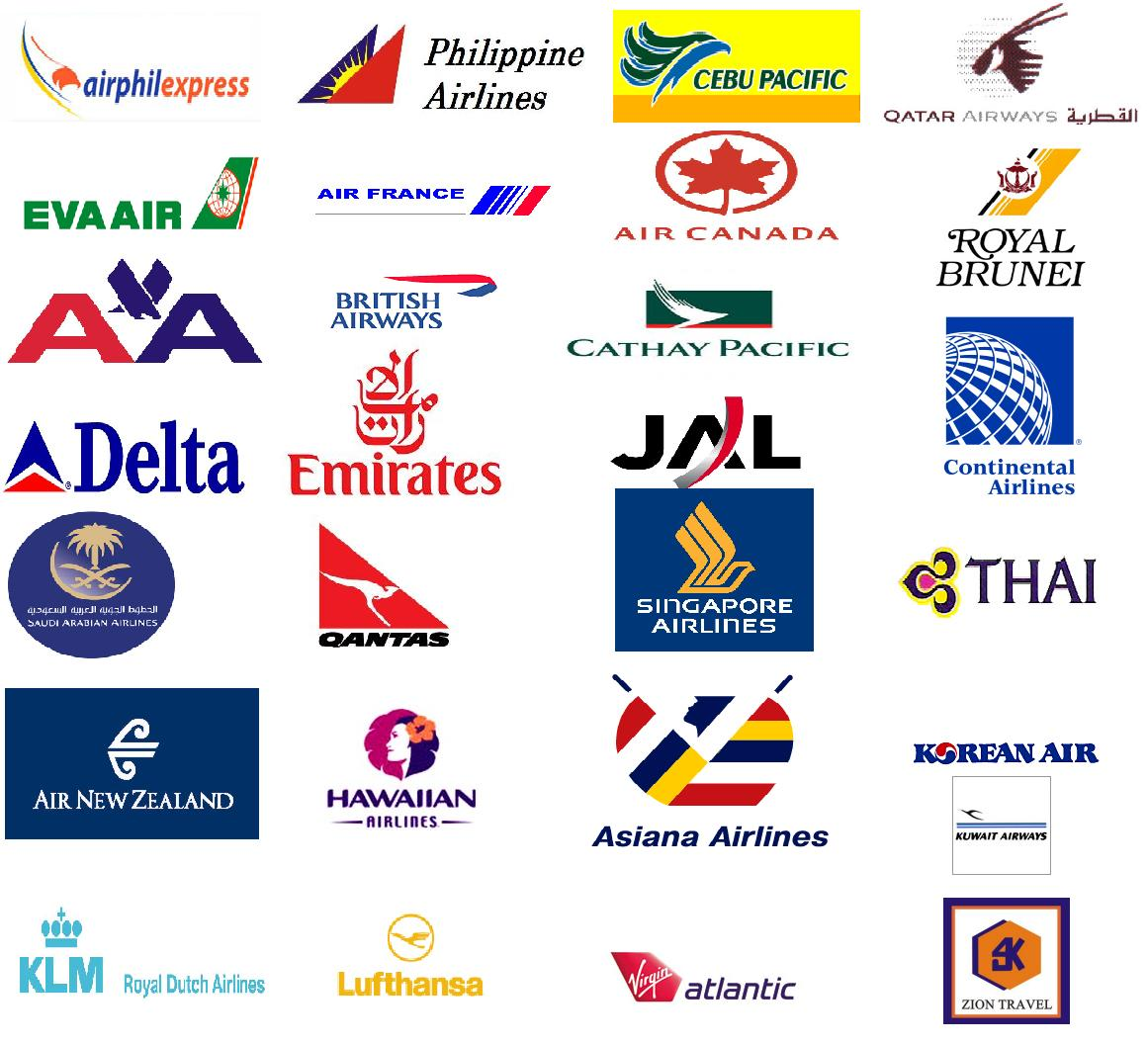 Our Affiliated Airlines Zion Travel And Tours